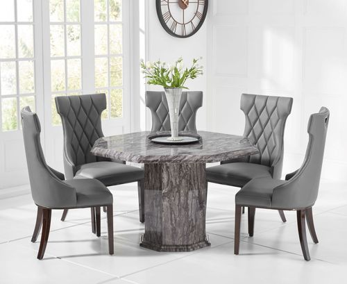 Octagonal grey marble dining table and 4 grey chairs set