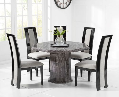 Octagonal grey marble dining table and 4 fabric chairs