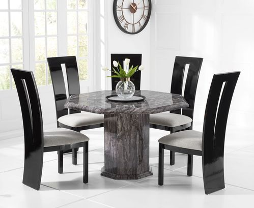 Octagonal grey marble dining table and 4 black gloss chairs