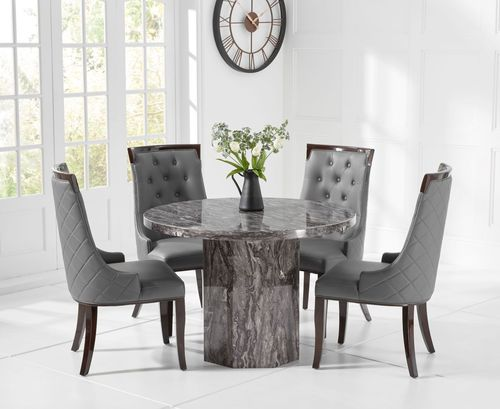 110cm Round grey marble dining table and 4 chairs