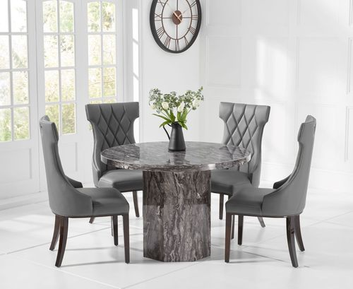 Round grey marble dining table with 4 chairs