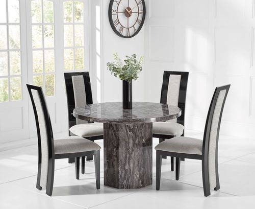 Round grey marble dining table with 4 fabric chairs