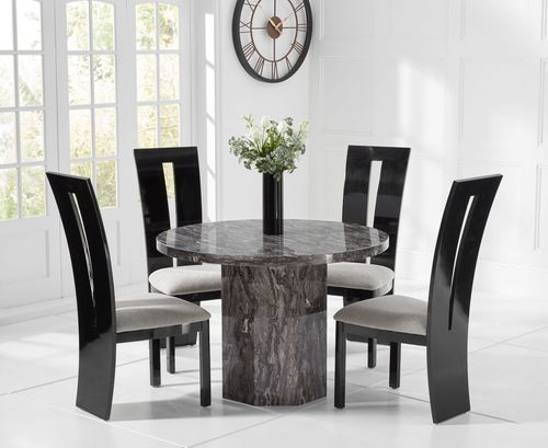 Round grey marble dining table and 4 black gloss chairs
