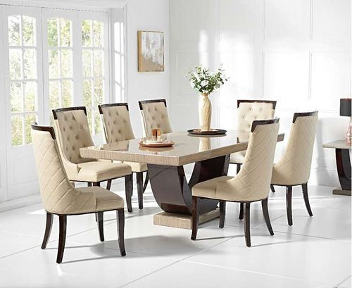 200cm brown marble dining table and 8 cream chairs
