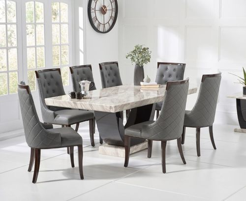 200cm cream marble dining table and 8 grey chairs