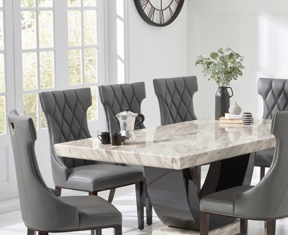 Cream Marble Dining Table And 8 Grey Chairs Homegenies