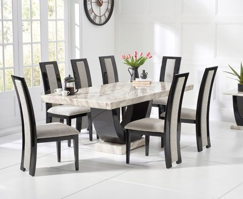 Cream marble dining table and 8 black with grey chairs