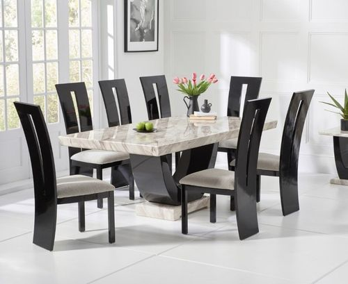 Cream marble dining table and 8 black high gloss chairs