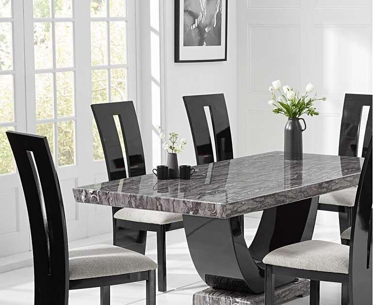 170cm Dark Grey Dining Table 6 Black Gloss Chairs Homegenies