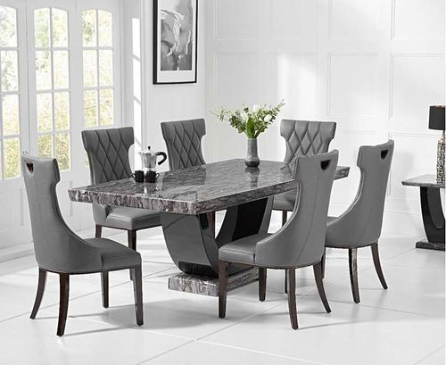 Dark grey marble dining table and 6 chairs