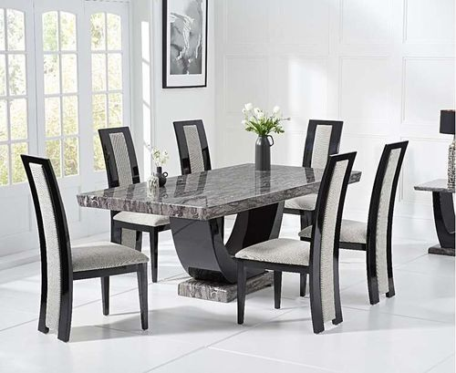 Dark grey marble dining table and 6 woven fabric chairs