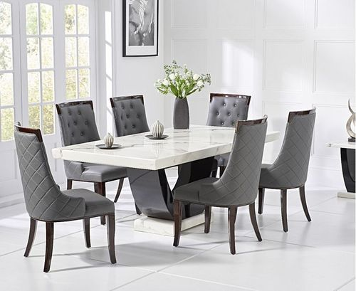 170cm White marble dining table and 6 grey chairs