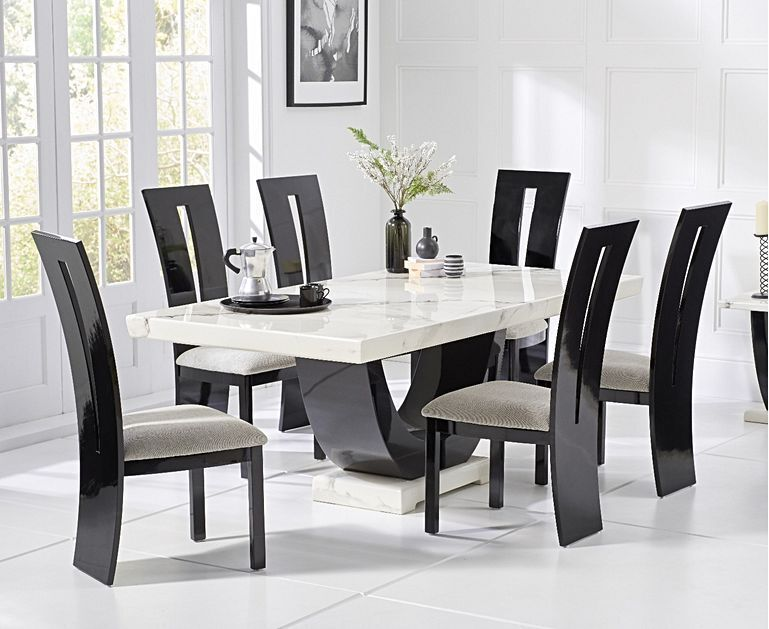 170cm White Marble Dining Table And 6 Gloss Chairs Homegenies