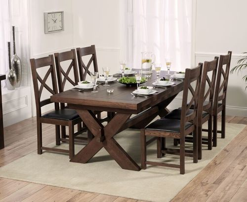 Dark wood oak dining table and 8 chairs