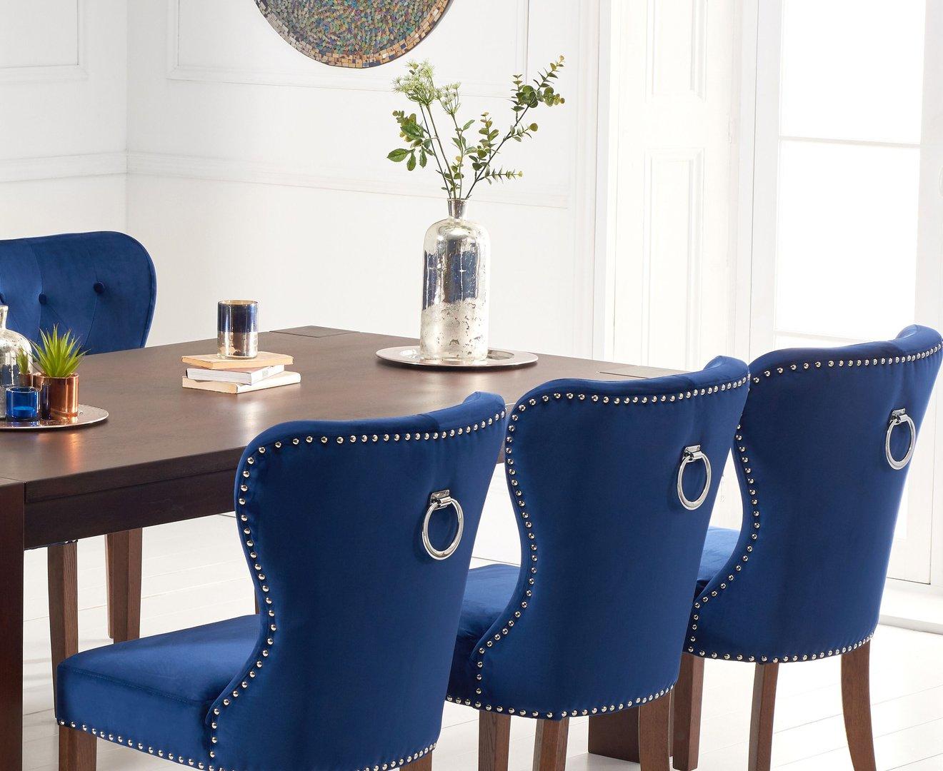 Dark Oak Dining Table And 8 Blue Velvet Chairs Homegenies