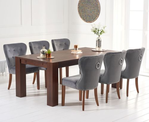 Dark oak dining table and 8 grey velvet chairs