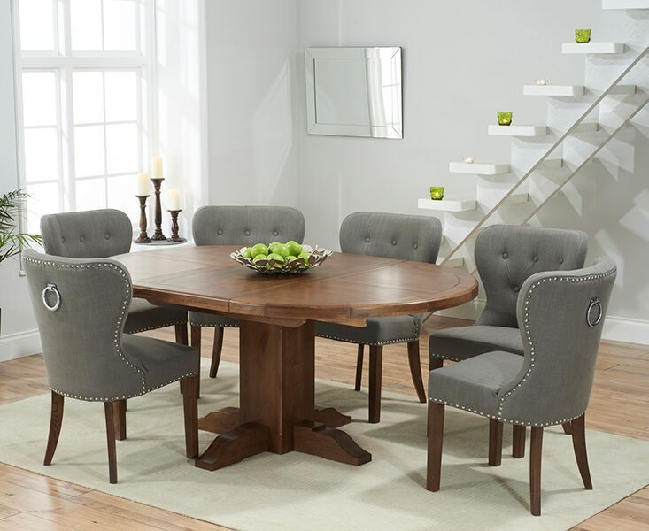 Extending Round Dark Oak Dining Table 6 Grey Chairs Homegenies