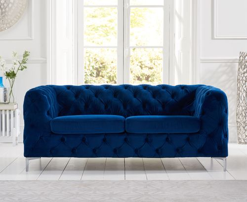 Blue plush velvet 2 seater sofa