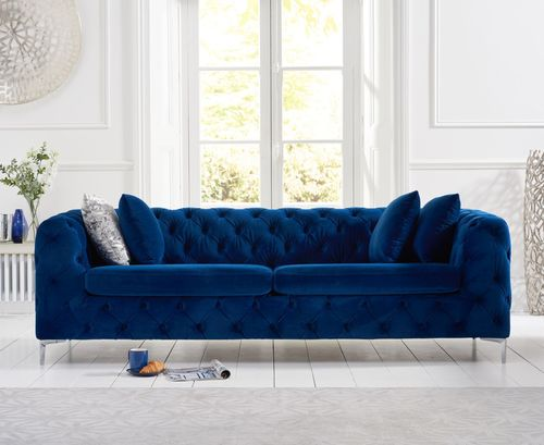 Blue plush velvet 3 seater sofa
