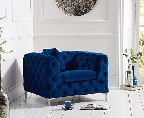 Blue velvet plush armchair