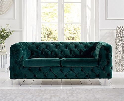 Green plush velvet 2 seater sofa