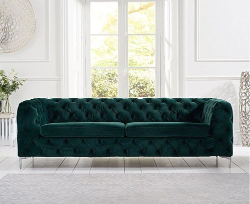 Green plush velvet 3 seater sofa