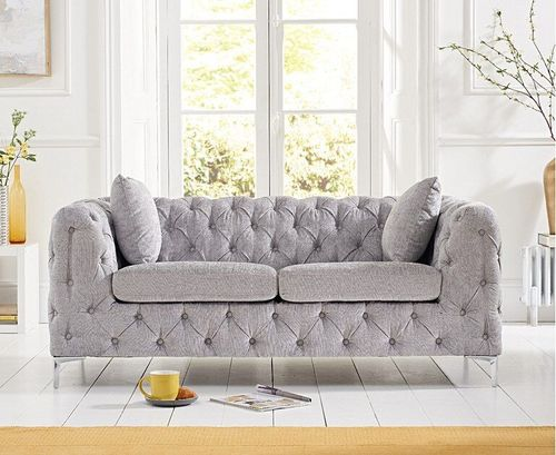 Grey plush velvet 2 seater sofa