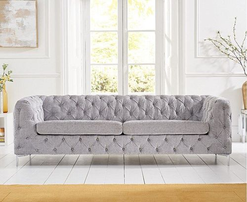 Grey plush velvet 3 seater sofa