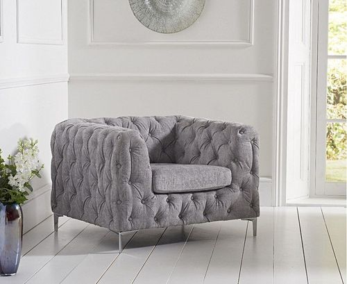 Grey velvet plush armchair