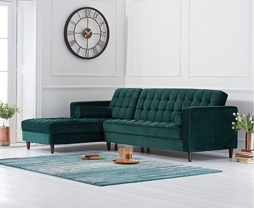Left Green velvet corner chaise sofa