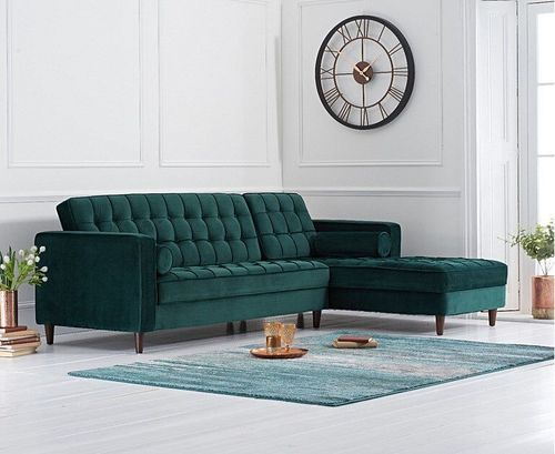 Right Green velvet corner chaise sofa