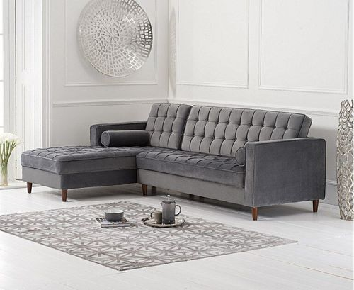 Left Grey velvet corner chaise sofa