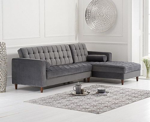 Right Grey velvet corner chaise sofa