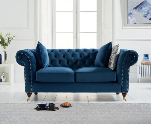 Blue velvet fabric 2 seater sofa