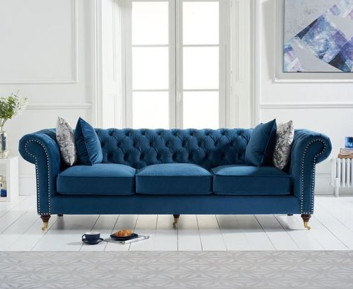 Blue velvet fabric 3 seater sofa