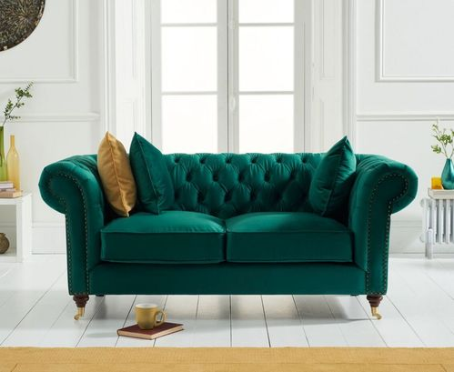 Green velvet fabric 2 seater sofa