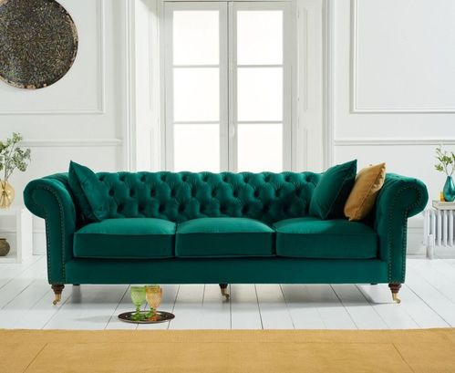 Green velvet fabric 3 seater sofa