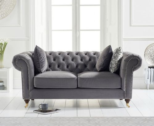 Grey velvet fabric 2 seater sofa