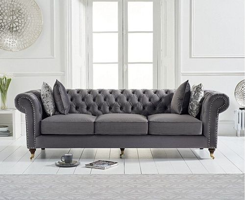 Grey velvet fabric 3 seater sofa