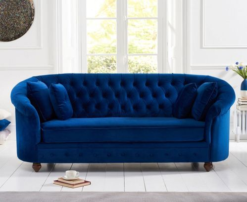Rounded blue plush velvet 3 seater sofa