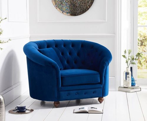 Rounded blue plush velvet Armchair