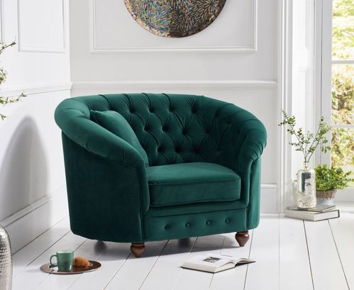 Rounded green plush velvet Armchair
