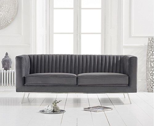 Grey velvet 2 seater sofa with ribbed back