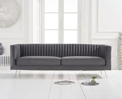 Grey velvet 3 seater sofa with ribbed back
