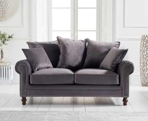 Grey plush velvet 2 seater sofa with cushions