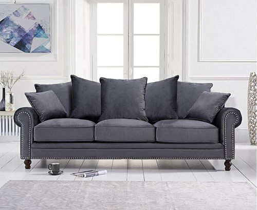 Grey plush velvet 3 seater sofa with cushions