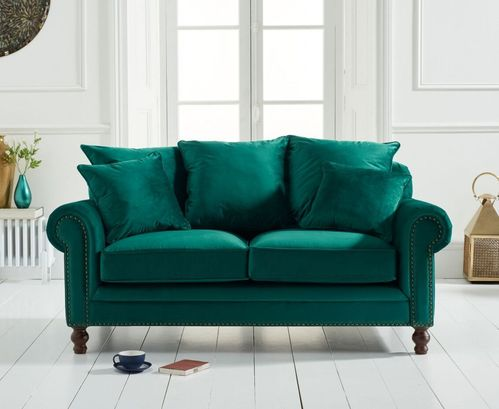 Green plush velvet 2 seater sofa with cushions
