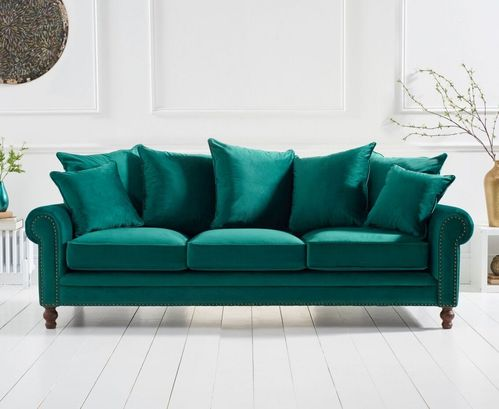 Green plush velvet 3 seater sofa with cushions