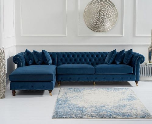 Blue velvet chaise corner sofa - Left facing