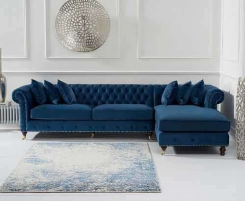 Blue velvet chaise corner sofa - Right facing